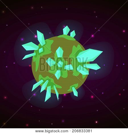 Crystal planet concept background. Cartoon illustration of crystal planet vector concept background for web