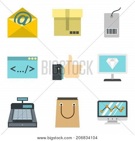 Cash payment icons set. Cartoon set of 9 cash payment vector icons for web isolated on white background