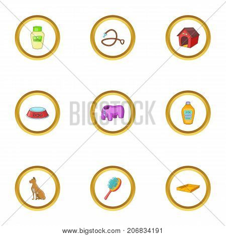 Pet accessory icons set. cartoon style set of 9 pet accessory pet vector icons for web design