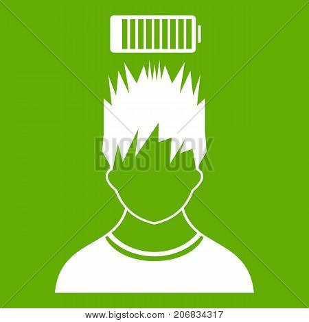 Man with low battery over head icon white isolated on green background. Vector illustration
