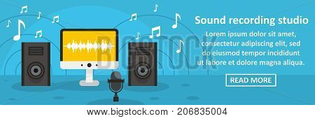 Sound recording studio banner horizontal concept. Flat illustration of sound recording studio banner horizontal vector concept for web design