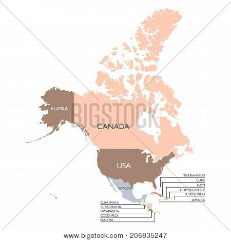 Map of North America continent. Vector illustration