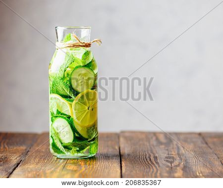 Detox Water Infused with Sliced Lemon Cucumber and Sprigs of Mint. Copy Space on the Right.
