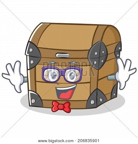 Geek chest character cartoon style vector illustration