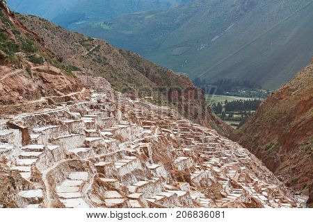 Panoramic view on salt pools in Cusco Peru. Salt maras valley