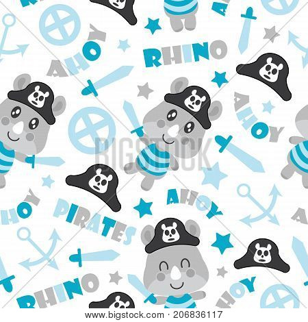 Seamless pattern of cute rhino pirate boys, swords, and anchors vector cartoon illustration for baby shower wrapping paper, fabric clothes, and wallpaper