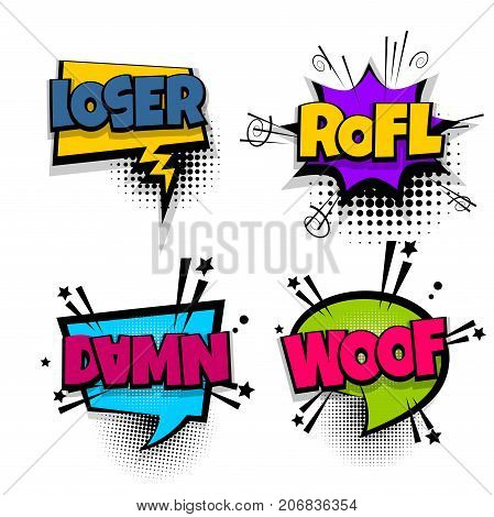 damn rofl woof loser set lettering. Comics book balloon. Bubble icon speech pop art phrase. Cartoon font label expression. Comic text sound effects. Vector illustration.