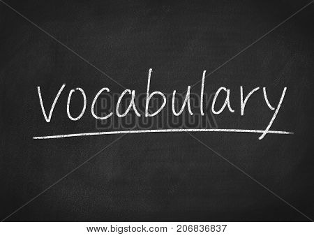 vocabulary concept word on a blackboard background
