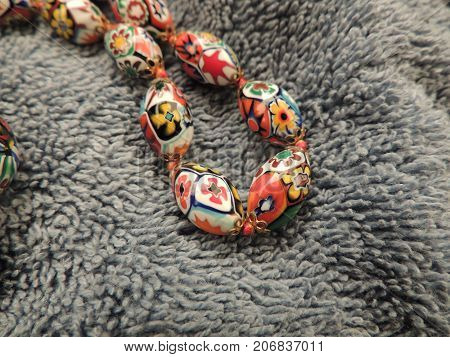 Millefiori Glass Bead Necklace Knotted with Silk