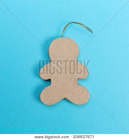 Ginger bread ornament with frame on a bright split tone background
