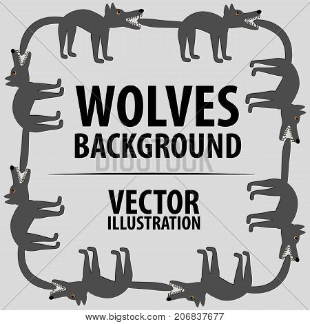 Background with wolves. Cartoon flat characters. Vector illustration