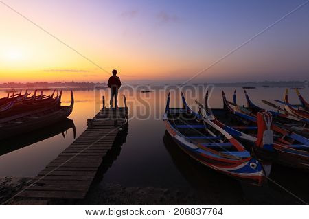 The local boat in taungthaman lake near U Bein bridge The longest teak bridge in the world Mandalay Myanmar