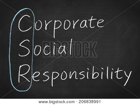 csr corporate social responsibility concept words on a blackboard background