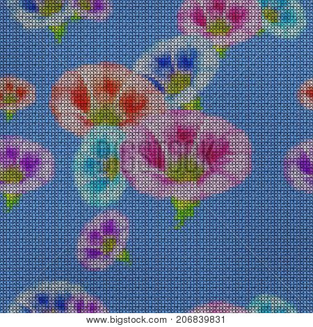 Illustration. Cross-stitch. larger bindweed. Texture of flowers. Seamless pattern for continuous replicate. Floral background collage.