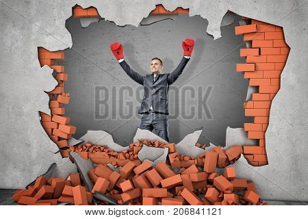 A victorious businessman in boxing gloves stands near a hole in a brick wall with rubble lying around. Self-made man. Fight for success. Business and competition.