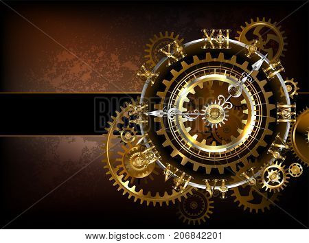Antique fantastic watches with gold and brass gears on a brown rusty background. Steampunk style.