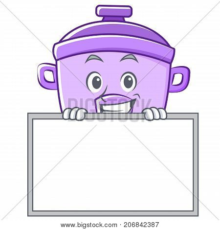 Grinning with board rice cooker character cartoon vector