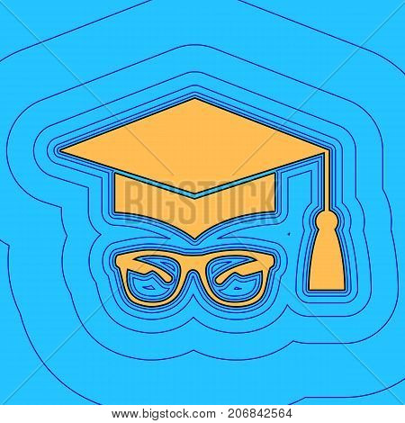Mortar Board or Graduation Cap with glass. Vector. Sand color icon with black contour and equidistant blue contours like field at sky blue background. Like waves on map - island in ocean or sea.