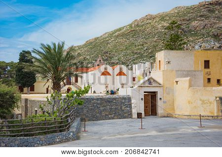 Preveli monastery courtyard with the church of Saint John, Rethimno, Crete, Greece.