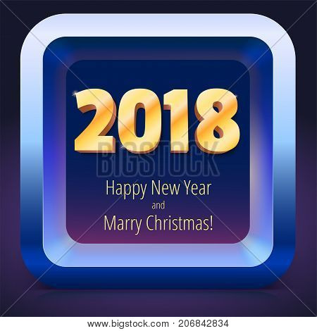 Happy New Year 2018. Volumetric numbers from gold. Banner with text. Golden glittering, shining text. Greeting card, poster, brochure or flyer template. Vector icon, 3D illustration.