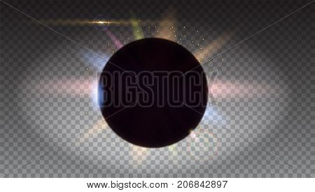 Solar eclipse, astronomical phenomenon - full sun eclipse. Space background isolated on transparent Blurred light rays and lens flare backdrop. Star burst with sparkles