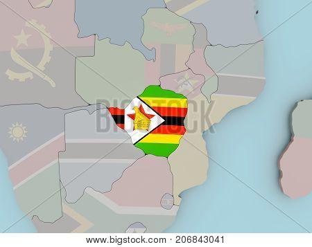 Zimbabwe On Political Globe With Flag