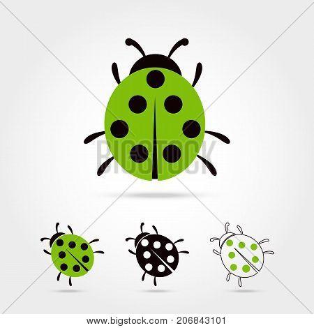 Illustration of the ladybug icon on white background Vector illustration