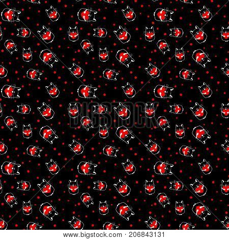 black seamless pattern with cat with heart. vector.