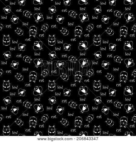 black seamless pattern with white cat and bird. vector