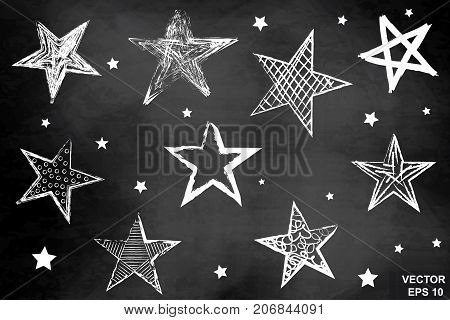 A Set Of Stars On A Chalkboard. Drawing. Hatch. Dark. For Your Design.