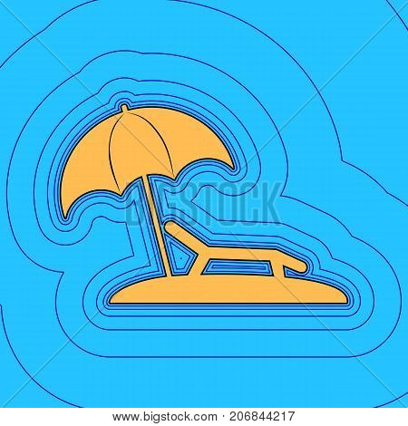 Tropical resort beach. Sunbed Chair sign. Vector. Sand color icon with black contour and equidistant blue contours like field at sky blue background. Like waves on map - island in ocean or sea.