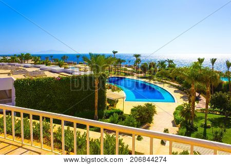 Sharm El Sheikh, Egypt - September 26, 2017: Buildings and pool area at Monter Carlo Sharm Resort and SPA at Sharm El Sheikh, Egypt on September 26, 2017