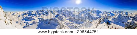 Winter panorama landscape from Mont Fort and famous Matterhorn, Dent d'Herens, Dents de Bouquetins, Weisshorn; Tete Blanche in the background, Verbier, 4 Valleys, Switzerland.
