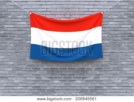Netherlands flag hanging on brick wall. 3D illustration