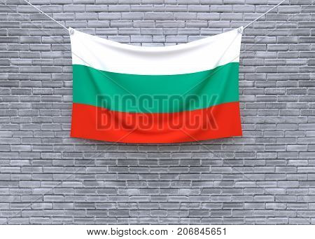 Bulgaria flag hanging on brick wall. 3D illustration