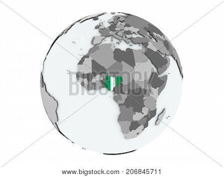 Nigeria On Globe Isolated