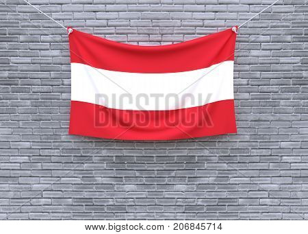 Austria flag hanging on brick wall. 3D illustration