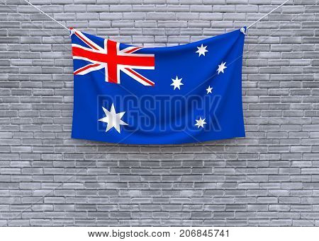 Australia flaghanging on brick wall. 3D illustration