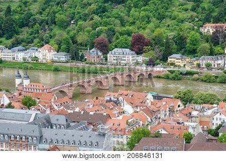 Beautiful view of Heidelberg town and Carl-Theodor bridge Heidelberg Germany.