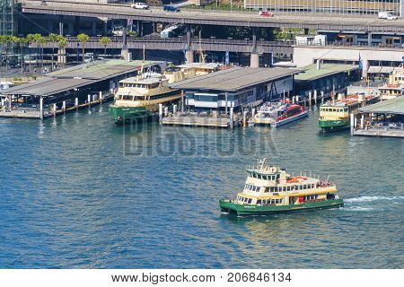 Sydney, Australia - May 16, 2017: Ferry departing from the Circular Quay in Sydney. The city has an extensive ferry network.