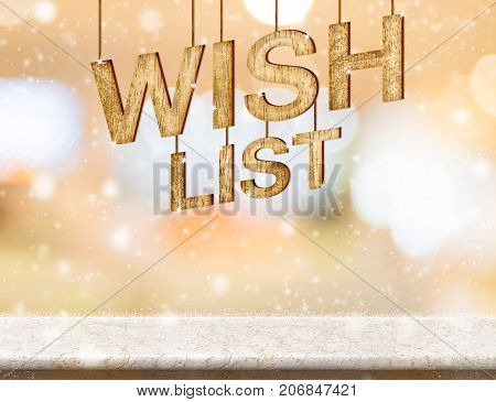 Wish list new year wood texture on marble table with abstract soft bokeh and falling snowHoliday greeting card concept. 3d rendering