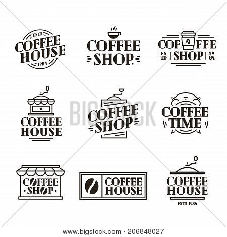 Coffee house and shop logo set with paper cup of coffee, machine black color line style isolated on background for cafe, shop, restaurant. Labels, badges and branding objects. Vector illustration