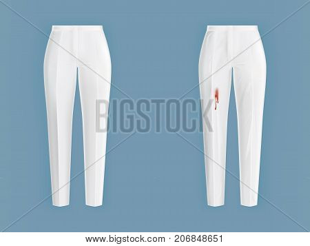 Pare of crumpled, dirty, contaminated with wine, blood, ketchup stain and ironed, clean white pants realistic vector. Clothing before, after washing, stain removal concept for landry, dry-cleaning ad