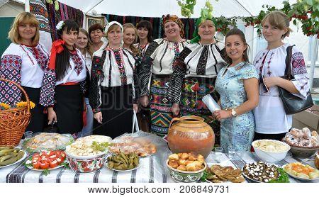 Borsch - Ternopil - Ukraine - September 8 2013. Ukrainian folk holiday Borschevsk black embroidery and borscht