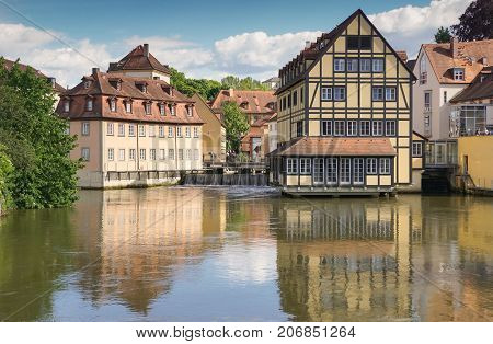 BAMBERG, GERMANY - MAY 25, 2017: Historical buildings in downtown of Bamberg on May 25, 2017 in Bavaria, Germany Europe