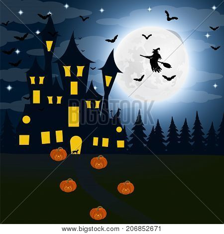 Halloween, the witch s house on the full moon. Bats and an old g