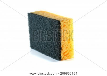 Kitchen yellow washcloth isolated on white background