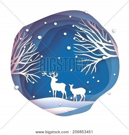 Deer couple in snowy forest. Merry Christmas Greeting card. Origami snowy winter season. Happy hplidays. New Year. Paper art style. Birch tree trunk. Blue background. Vector illustration