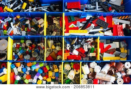Blocks Of Lego Are Sorted. Storage Of Lego Classic.