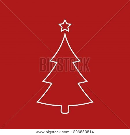 Christmas tree icon vector simple design. White symbol of fir-tree isolated on red.